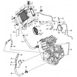Запчасти элементов системы охлаждения мотоцикла Stels 600 Benelli